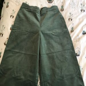 Green Corduroy High Waisted Wide Leg